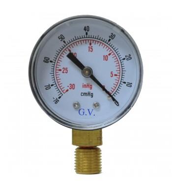 Vacuometro Analogico 50mm -76cmHg -30 inchHg