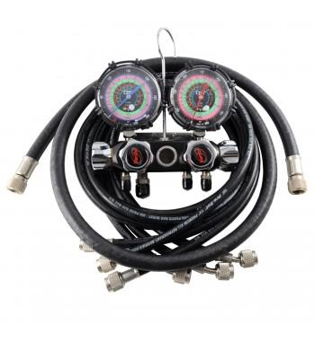 Manifold CPS Black Max 4 Vías Completo 4 Manguera R410A...