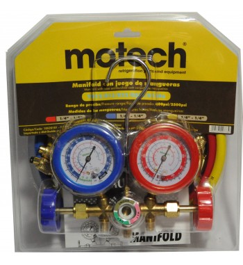 Manifold Motech R22 R12 R502 R134a Completo De Bronce