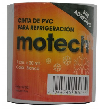 Cinta PVC Motech Sin Adhesivo 7cm x 20Mtrs - Blanca