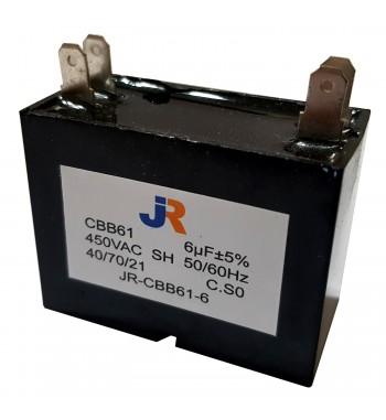 Capacitor de Marcha cuadrado 6 uf 450 VAC - JR
