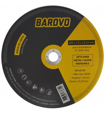 """Disco de corte para amoladora 9"""" espesor 1,9mm Barovo"""
