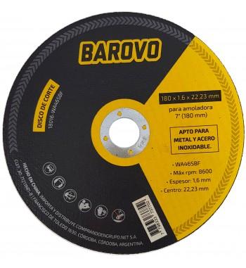 """Disco de corte para amoladora 7"""" espesor 1,6mm Barovo"""