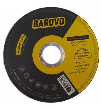 """Disco de corte para Amoladora 4 1/2"""" espesor 1mm Barovo"""