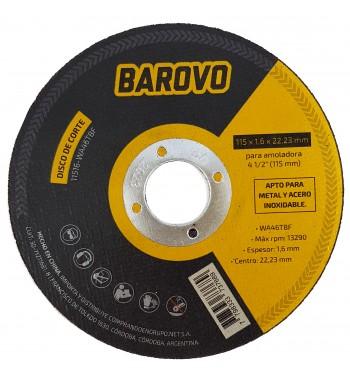 """Disco de corte para Amoladora 4 1/2"""" espesor 1,6 mm Barovo"""