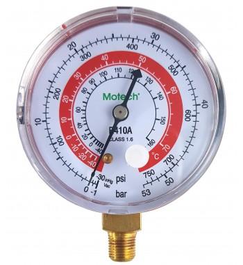 Manometro MOTECH Alta R410a Psi/Bar Rango 0 a 750psi ºF ºC