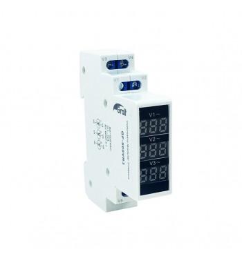 Voltímetro modular trifásico Riel Din GF-500VR3