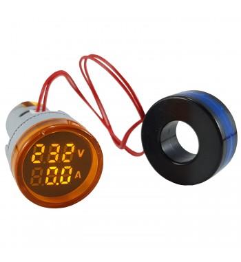 Medidor De Voltaje y Amperaje 100A VAC Redondo 22mm De...
