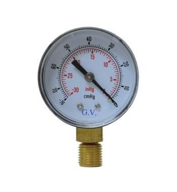 Combo Vacuometro Analogico 50mm -76cmHg -30 inchHg con...