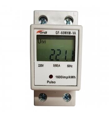 Medidor Monofasico De Consumo En kWh 300V 60A Riel Din...