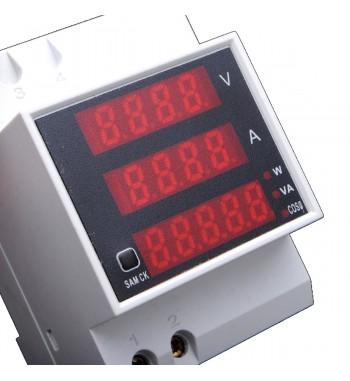 Medidor AC Voltimetro 300V Amperimetro 100A Consumo W Va...