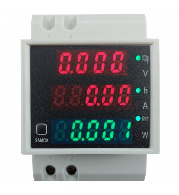 Medidor AC Volt. 300V Amp. 100A Coseno W Kwh Reseteable...